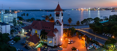 Azania Front Lutheran Church with the harbour in the background. Dar es Salaam. Tanzania