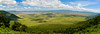 View into Ngorongoro Crater from the rim. Serengeti National Park. Tanzania