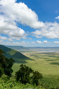 View into Ngorongoro Crater from the rim. Serengeti National Park. Tanzania