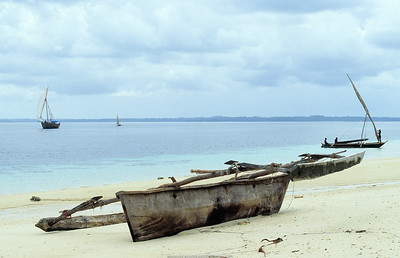 Galawas and dhow. Pemba Island. Tanzania