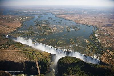 Aerial view of Victoria Falls. Zimbabwe