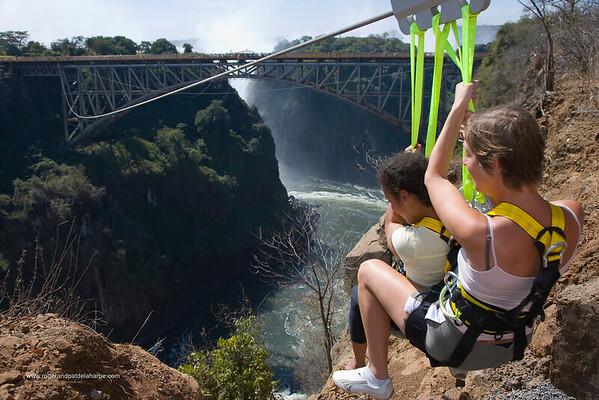 Zip Line ride across the gorge at Victoria Falls. Zimbabwe