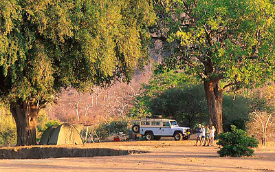 Tourists at campsite. Gonarezhou. Zimbabwe.