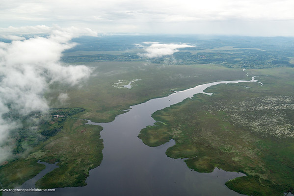 Aerial view near Lukaya, of Western shore of Lake Victoria  Uganda