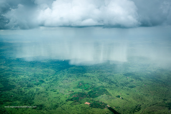 Aerial view of a weather cell (rain storm) in south west Uganda