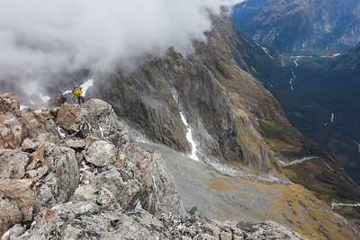 Two climbers on Mount Tarewai, above Tutoko Valley, Fiordland National Park