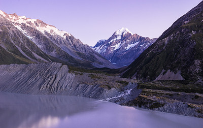 Mueller Lake and Hooker Valley with Aoraki Mount Cook at its head, Aoraki Mount Cook National Park