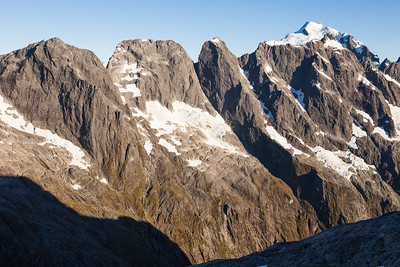 SE aspects of Mounts Makere, Tarewai, Milne, Syme and Tutoko (in back) from Mt Te Wera. Central Darran Mountains, Fiordland National Park