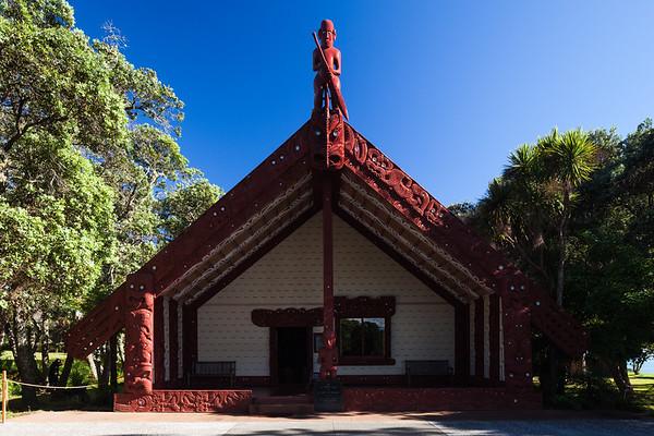 Te Whare Rūnanga (the House of Assembly). Waitangi Treaty Grounds, Waitangi