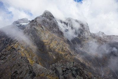 Mount moir, Moirs Mate and upper Cleddau Valley from Homer Saddle, Fiordland National Park