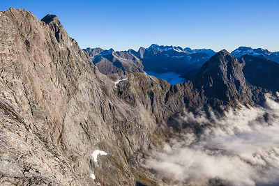 Donne Faces of Karetai and Revelation, Apirana Peak to right, Darran Mountains, Fiordland National Park