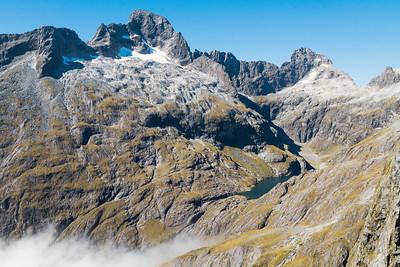 Lake Turner and Cleft Creek cirque, with Mount Te Wera, Karetai Peak and Karetai Col, Darran Mountains, Fiordland National Park, New Zealand