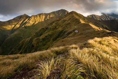 Tarn Ridge Hut with Girdlestone and Brockett, Northern Crossing, Tararua Range