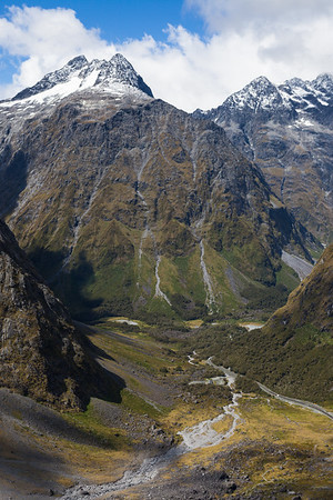 Upper Hollyford Valley with Mount Crosscut and Mount Christina, Fiordland National Park