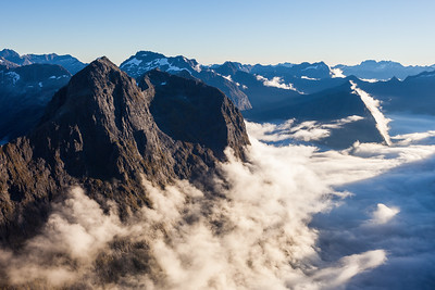Apirana Peak catches evening light above Donne Valley, Darran Mountains, Fiordland National Park
