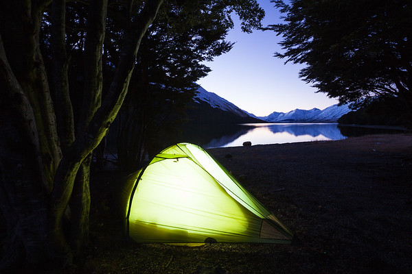 Tent pitched on shore of North Mavora Lake, Mavora Lakes Conservation Park