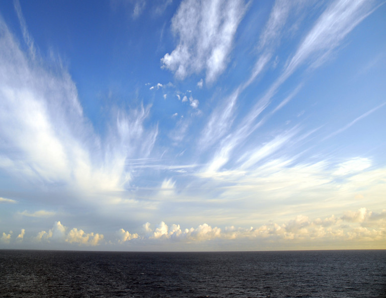 Amazing cloud formation observed at sunrise in the Caribbean