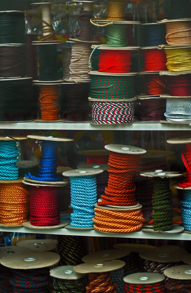 Spools of yarn and cord in a tailor's window Dover, England