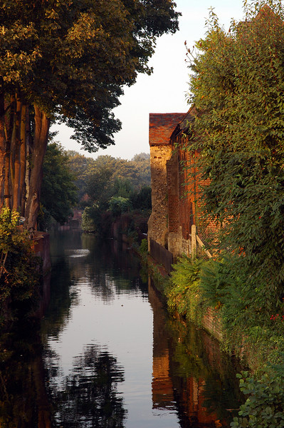 Canterbury, England has the most beautiful dwellings. This canal is so peaceful in the amber glow of an October sunset.