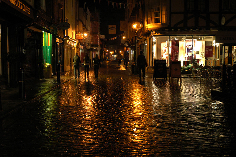 Canterbury streets after a misty rain