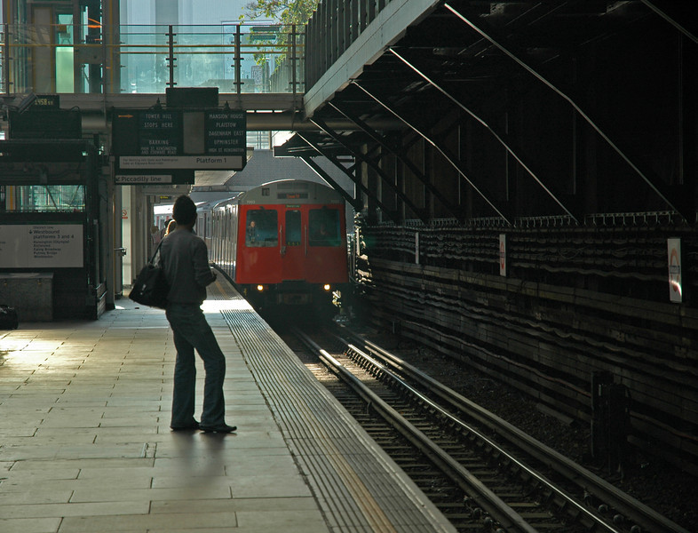 Waiting at the train station in London