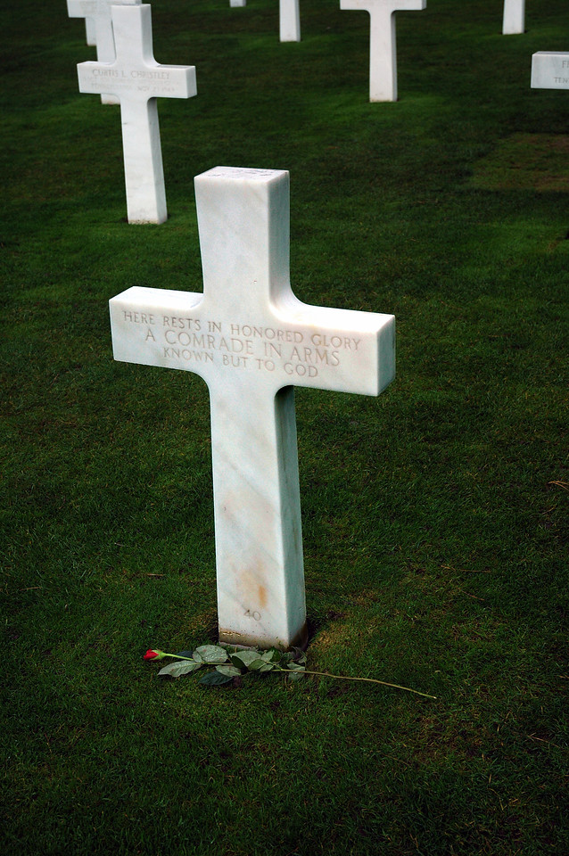 This is one of many Tombs of the Unknown Soldier at the American cemetery at Omaha Beach, Normandy, France.
