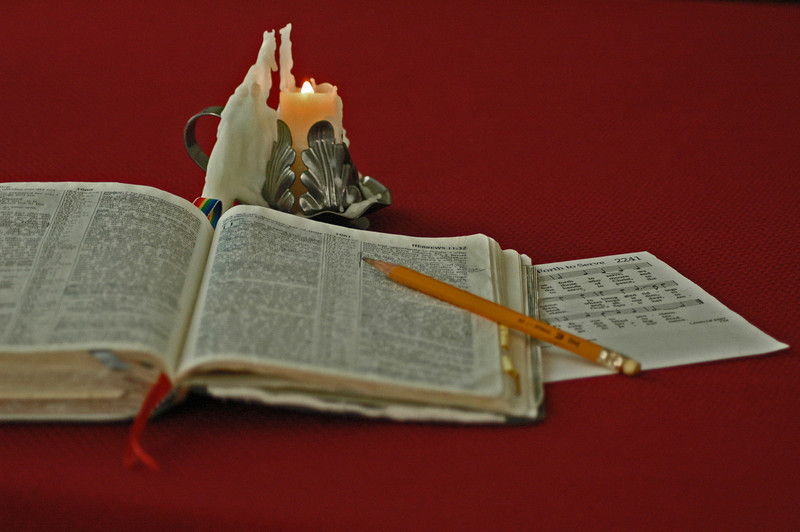 Bible Study by candlelight