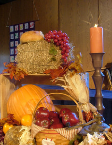 Thanksgiving decorations adorn the altar during the holiday season at Greenwood UMC