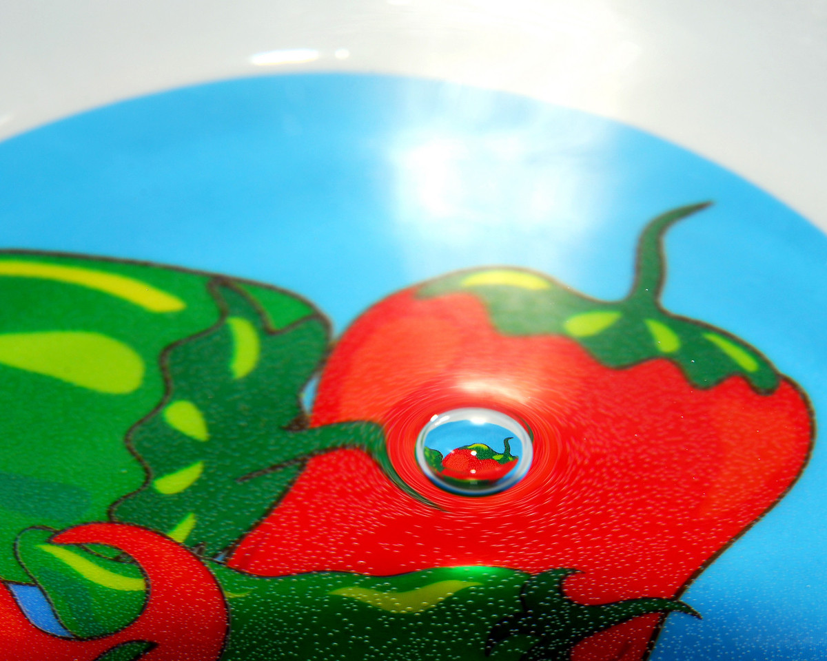 Here is a photo of a bubble reflecting/repeating the image on the plate