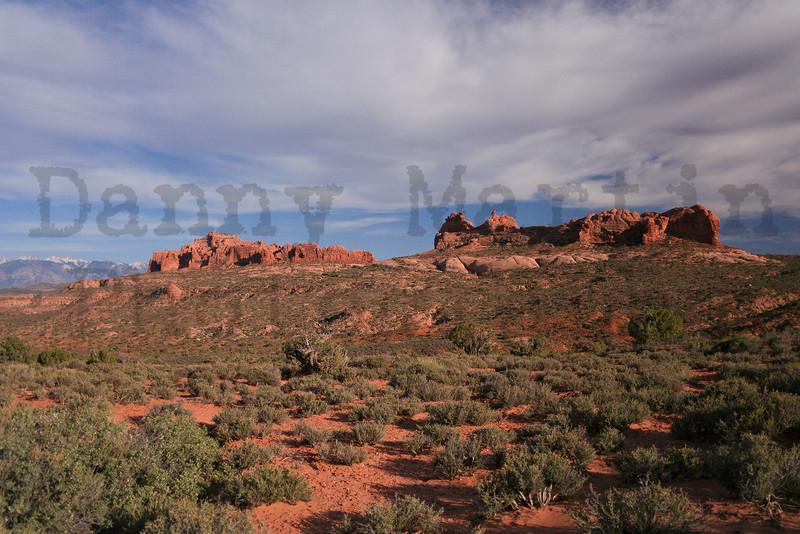 red rock landscape.  Arches National Park, UT.