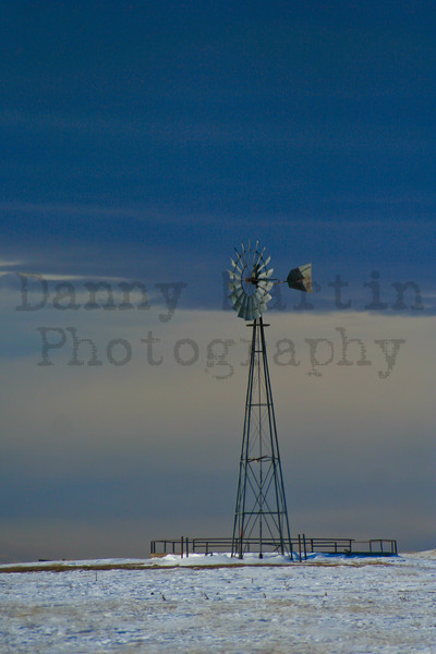 Windmill in the cold.  Pawnee National Grassland, CO.