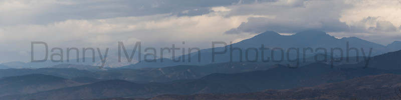 The Front Range of the Rocky Mountains, from the plains east of Fort Collins, Colorado