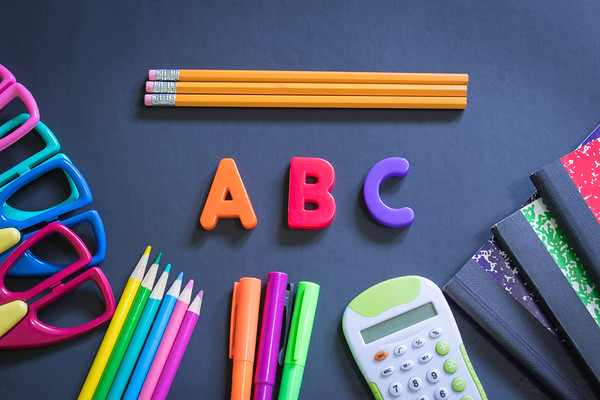 Overhead Back To School Supplies on a Black Background