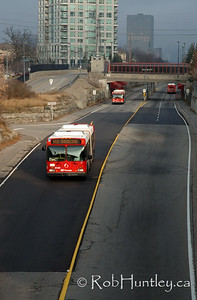 OC Transpo bus on the Ottawa Transitway system at Westboro station and shot from the Churchill Avenue Bridge. This part of the transitway along Scott Street in Ottawa is locally known as the ditch.