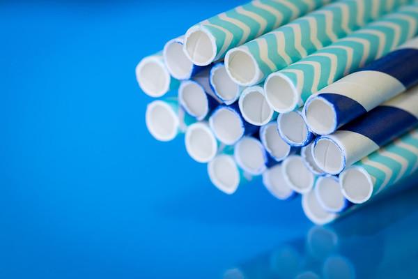 Blue Straws on a Blue Background