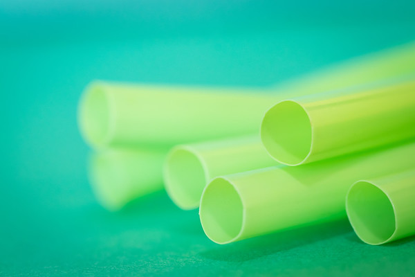 Green Straws on a Green Background