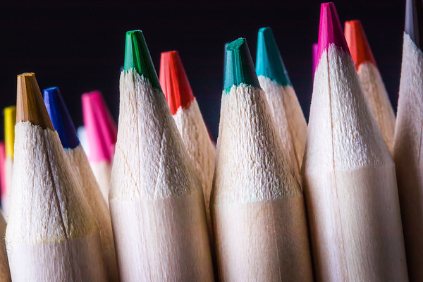 Moody Shot of Colored Pencils on a Black Background