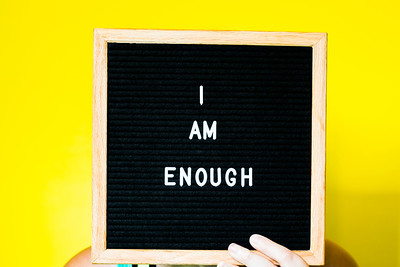 I am Enough Text on a Letterboard