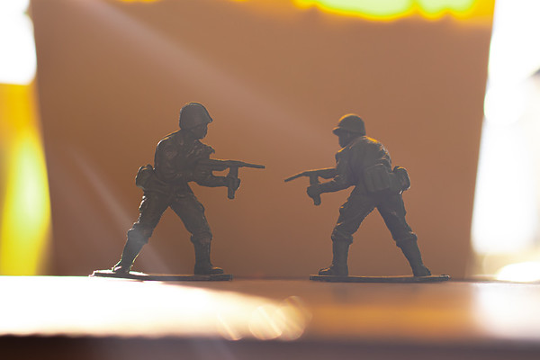 Two Toy Soldiers Fighting