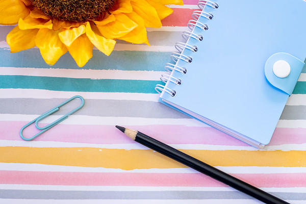 Overhead Angle of Notebook and Pencil on a Desk on a Colorful Pastel Background