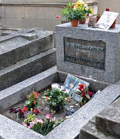 Doors' musician Jim Morrison's grave at Pere LaChaise cemetery, Paris.