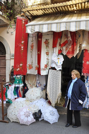 shopkeeper in Taomina, Sicily, Italy