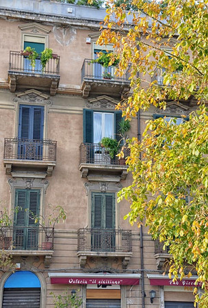 apartments and balconies, Messina, Sicily, Italy