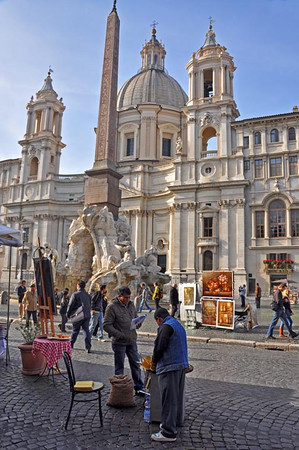 sellers of street food and art, Piazza Navona, Rome, Italy