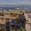 view over apartments and port fortifications, Messina, Sicily, Italy