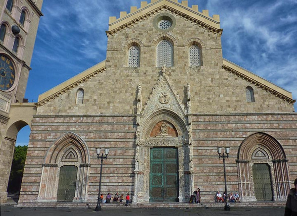 church and villagers, Messina, Sicily, Italy