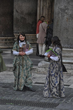 selling opera tickets outside the Pantheon, Rome, Italy