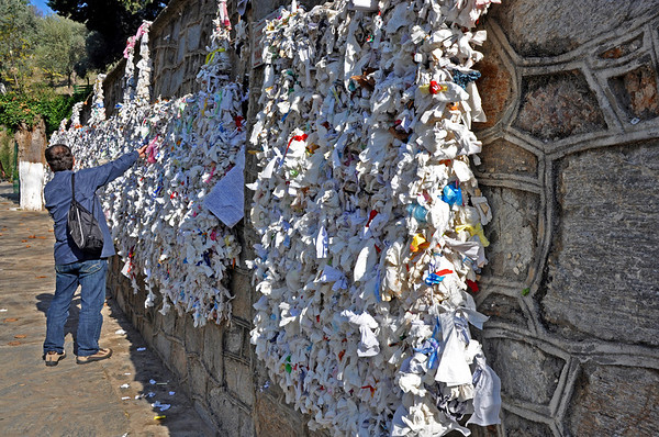 Ephesus, Turkey. House of the Virgin Mary. Prayer-cloth wall.