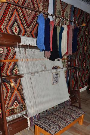 loom at a carpet factory, Ephesus, Turkey.