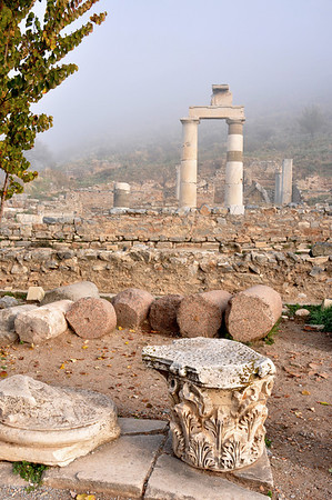 The Roman ruins at Ephesus, Turkey. This is Prytaneion, where religious ceremonies, official receptions and banquets were held. The sacred flame symbolizing the heart of Ephesus was kept constantly alight here in a four-cornered pit.